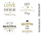 set of valentine day typography ... | Shutterstock . vector #583665649