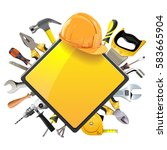 vector rhombic sign with tools   Shutterstock .eps vector #583665904
