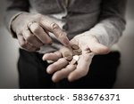 old woman counting her... | Shutterstock . vector #583676371