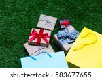 colorful shopping bags  and... | Shutterstock . vector #583677655