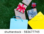 colorful shopping bags  and... | Shutterstock . vector #583677745