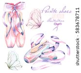 set  collection of watercolor... | Shutterstock . vector #583678711