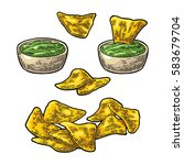nachos chips with guacamole in... | Shutterstock .eps vector #583679704
