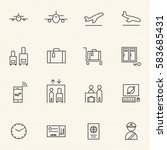 airport icon sets. line icons. | Shutterstock .eps vector #583685431