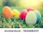 Easter Eggs In Grass Against...