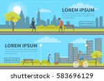 web banner of people spending... | Shutterstock .eps vector #583696129