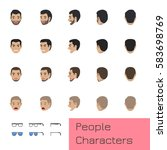 people characters set of turned ... | Shutterstock .eps vector #583698769