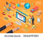 e commerce global internet... | Shutterstock .eps vector #583699585