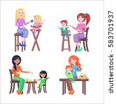 set of four mothers  who feeds... | Shutterstock .eps vector #583701937