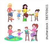 mother feeding naughty children ... | Shutterstock .eps vector #583703611