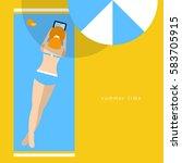 beautiful girl sunbathing on...   Shutterstock .eps vector #583705915