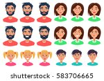 faces of people expressing... | Shutterstock .eps vector #583706665