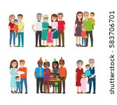 set of happy families group... | Shutterstock .eps vector #583706701