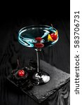 cocktail blue  decorated with... | Shutterstock . vector #583706731