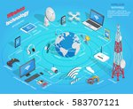 wireless technology infographic ... | Shutterstock .eps vector #583707121