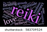 reiki word cloud on a black... | Shutterstock .eps vector #583709524