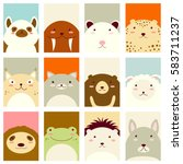 Stock vector banners backgrounds flyers placards in hand drawn style with cute animals poster for 583711237