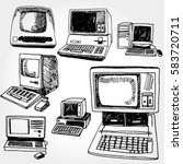 vintage pc hand drawn | Shutterstock .eps vector #583720711