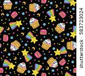 cute seamless pattern with... | Shutterstock .eps vector #583723024