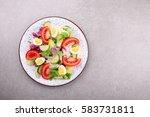 fresh salad with vegetables... | Shutterstock . vector #583731811