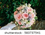 beautifully decorated bouquet...   Shutterstock . vector #583737541