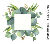 watercolor hand painted square... | Shutterstock . vector #583738789