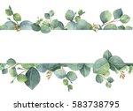 watercolor hand painted green... | Shutterstock . vector #583738795