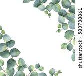 watercolor hand painted green... | Shutterstock . vector #583738861