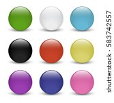 set of colored glass buttons... | Shutterstock .eps vector #583742557
