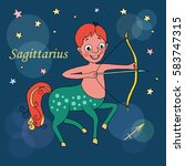sagittarius zodiac sign on... | Shutterstock .eps vector #583747315