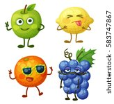 funny fruit characters isolated ... | Shutterstock .eps vector #583747867
