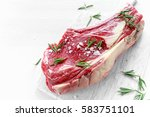 fresh raw beef bone rib roughly ... | Shutterstock . vector #583751101