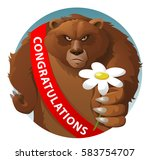 bear with congratulations.... | Shutterstock .eps vector #583754707