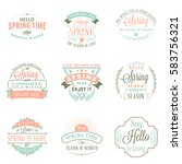 spring vintage typographic... | Shutterstock .eps vector #583756321