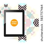 tablet pc icon with memphis... | Shutterstock .eps vector #583757464