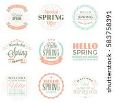 spring vintage typographic... | Shutterstock .eps vector #583758391
