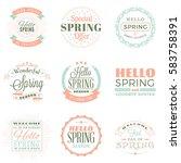 spring vintage typographic... | Shutterstock .eps vector #583758391
