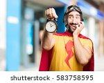 crazy super hero with clock | Shutterstock . vector #583758595