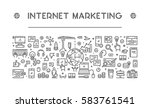 line web banner for internet... | Shutterstock .eps vector #583761541
