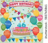 46th birthday cake and...   Shutterstock .eps vector #583765861