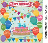 34th birthday cake and... | Shutterstock .eps vector #583765951