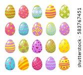 set of color easter eggs.... | Shutterstock .eps vector #583767451