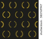 gold award wreaths on black... | Shutterstock .eps vector #583769947