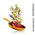 fresh vegetables with steak... | Shutterstock . vector #583780351
