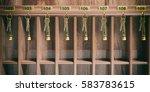 wooden hotel reception shelf... | Shutterstock . vector #583783615