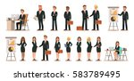 Set of business characters working in office. Vector illustration design  | Shutterstock vector #583789495