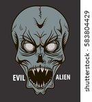head of the evil alien isolated | Shutterstock .eps vector #583804429
