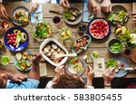 friendly humans eating tasty... | Shutterstock . vector #583805455