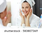 happy woman with toothy smile... | Shutterstock . vector #583807369