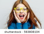 woman surprised  surprise  the... | Shutterstock . vector #583808104
